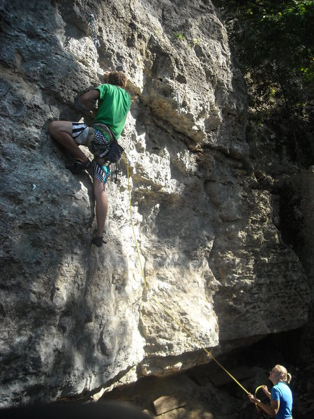 Rock Climbing Photo: Nearing the deadpoint! Super fun route.