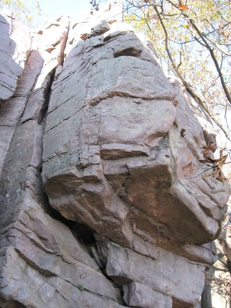 """Rock Climbing Photo: """"The Plank"""" 5.8 starts left and traverse..."""