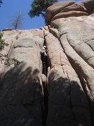Rock Climbing Photo: Brett leading Easy Chimney.
