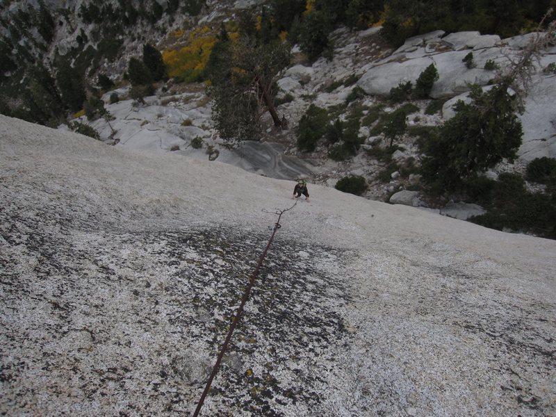 Rock Climbing Photo: S. Davis climbs the third pitch of 'Sheltering Sky...