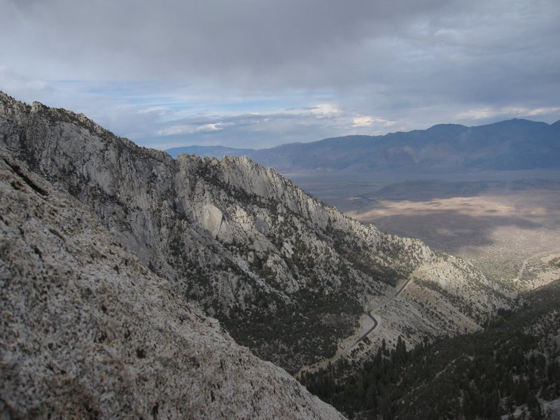 Looking north over Whitney Portal from the top of the Candlelight Buttress.
