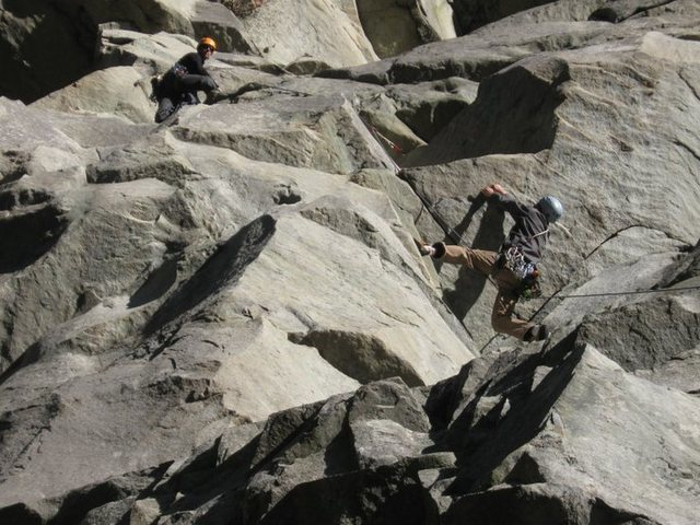 Rock Climbing Photo: Partner sussing out the P1 crux... not necessarily...