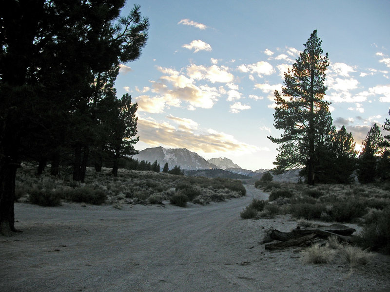 The Sierra at sunset from the Bachar boulders.