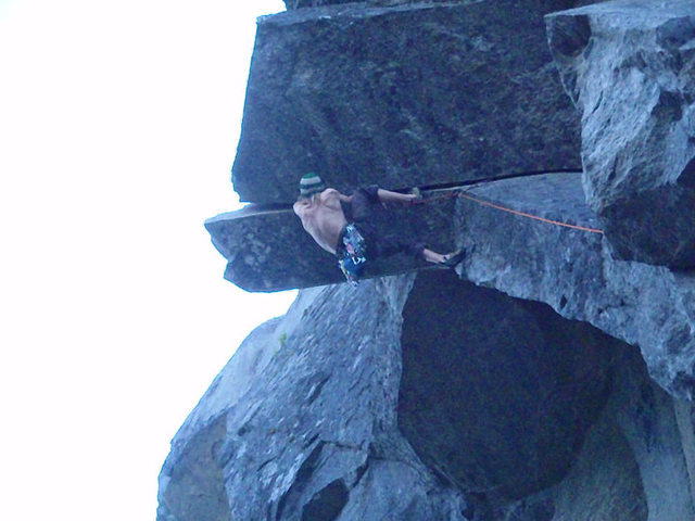 Clay Meier on the first free ascent of incinorater crack. summer 2010