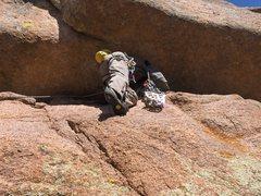 Rock Climbing Photo: Rob Kelman, prostrating himself on the first pitch...
