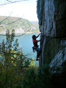 Rock Climbing Photo: Jay Knower getting some gear in on his onsight of ...