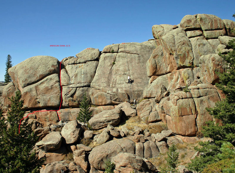 Rock Climbing Photo: American Crawl (solid line) with Crawl Direct opti...
