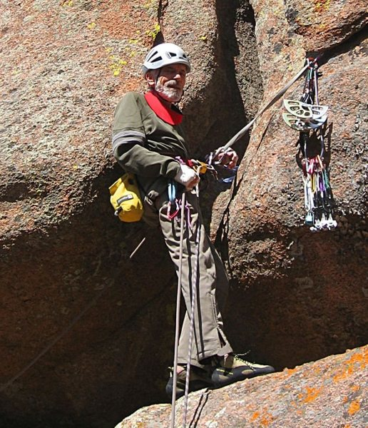 Prevent rope drag! The gear belay for the standard version of <b>American Crawl</b>. Omit this stance if climbing <b>Crawl Direct</b>. This is where the leader can stand erect.