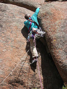 Rock Climbing Photo: Working the crux... early attempt, 2009. This was ...