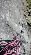 Rock Climbing Photo: Teal Tompkins just before the first crux (5.9+)sec...