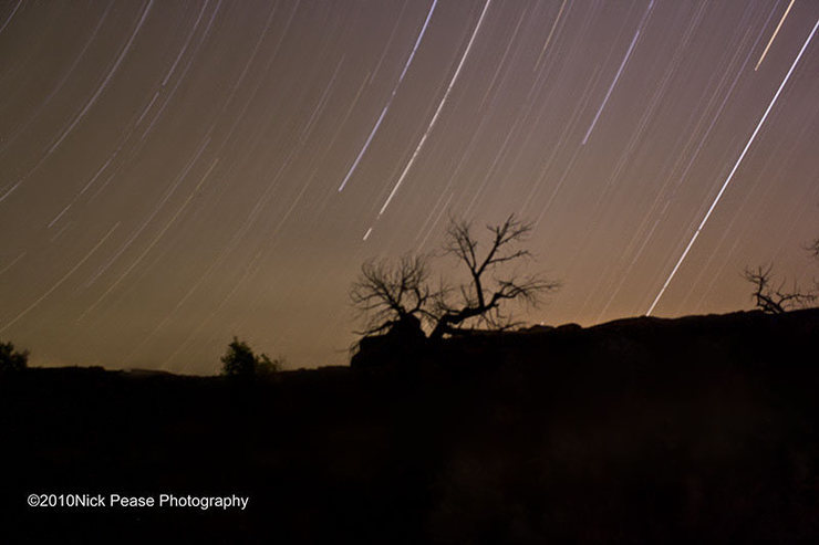 Star Trails of Indian Creek, UT<br> <br> More Photos by Nick Pease Photography at<br> http://www.facebook.com/pages/Boulder-CO/Nick-Pease-Photography/136265733077843?ref=sgm