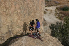 Rock Climbing Photo: Albert and Rasta setting a toprope.