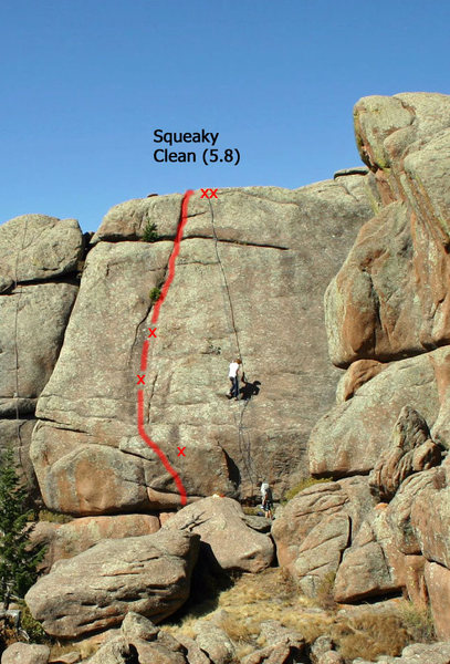 Rock Climbing Photo: Route topo. Three bolts and somewhat creative gear...