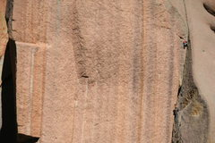 Rock Climbing Photo: Hmm! Fresh meat!, 5.10  Tom Carr approaches the cr...
