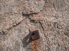 Rock Climbing Photo: The one bolt on the climb....