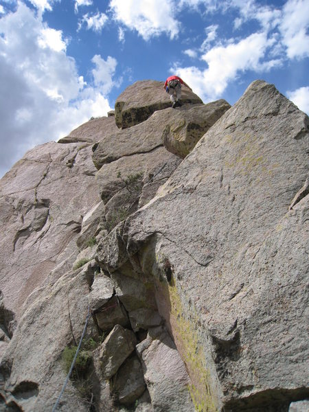 Rock Climbing Photo: Contemplating a one of two muscly block moves on t...