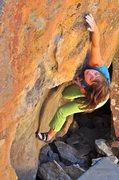 Rock Climbing Photo: Nicky Dyal on Orange Smoothie, V2, Coal Creek Boul...