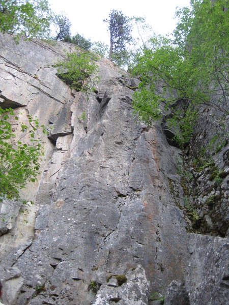 Looking up the route from the ground