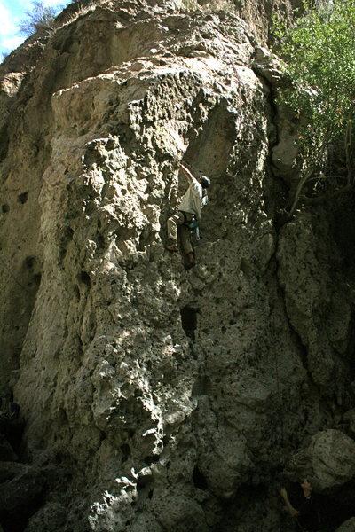 Rock Climbing Photo: Albert on the climb around the corner from Electri...