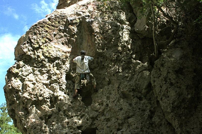 Albert on the climb around the corner from Electric Eye.