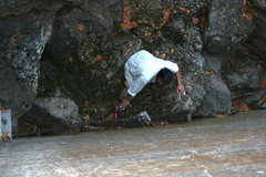 Rock Climbing Photo: Albert retrieving the water bottle he dropped goin...