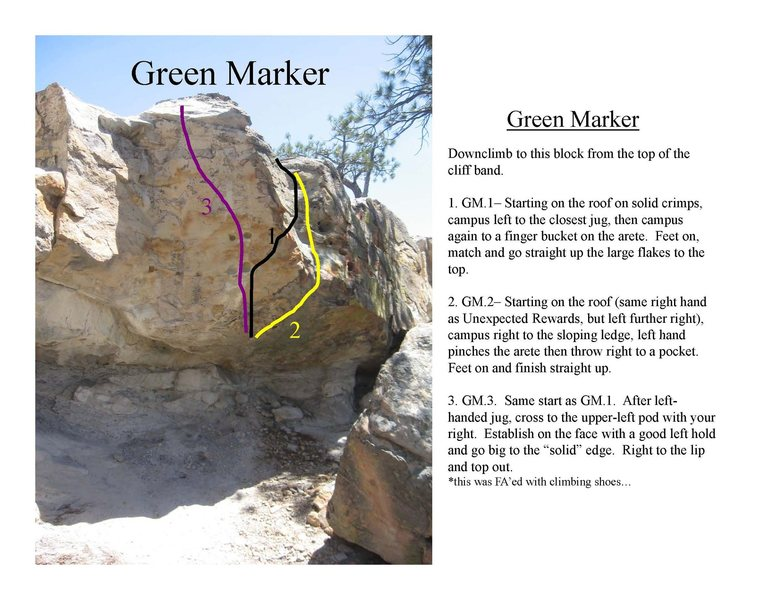 Rock Climbing Photo: Green Marker problems.