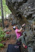 Rock Climbing Photo: Powder Puff before the crux.