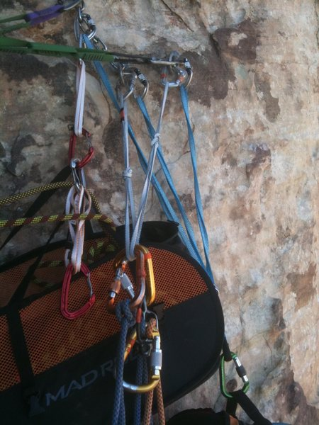 The blue mammut sling anchor clipped into 2 bolts is the only thing that is mine, the rest of the crap belonged to just one party