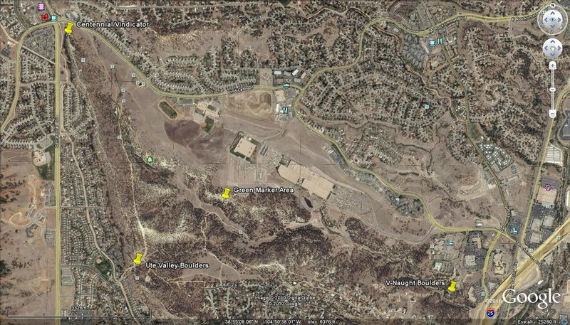 Google Earth Map of the main areas in Ute Valley Park.<br> Elkton Boulder is just outside of the picture, to the south.