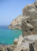 Rock Climbing Photo: The start of the climb, at sea-level, with Bosigra...