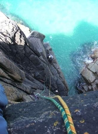 Rock Climbing Photo: Looking down the first pitch (photo by Phil Ashton...