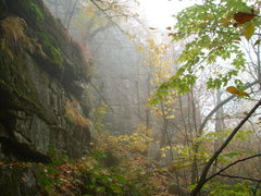 Rock Climbing Photo: The Satellite Wall lurking in the mist