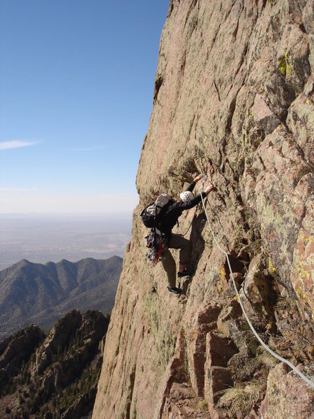 Rock Climbing Photo: Allan Aiken following the traverse onto Warpy vari...