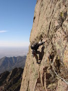 Rock Climbing Photo: Allan Aiken following the traverse onto Warpy vari...