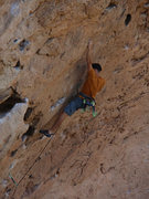 Rock Climbing Photo: The long move on thinner holds that starts the cru...