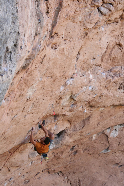 Rock Climbing Photo: Moving up into the crux. Photo by Matt Moore