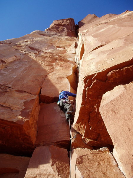 Rock Climbing Photo: The lower crux on P1 is the move off the ground an...