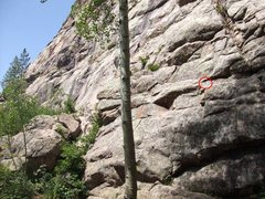 Rock Climbing Photo: Beginning of climb with first bolt circled.
