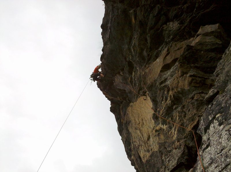 Rock Climbing Photo: The steep section of the last pitch
