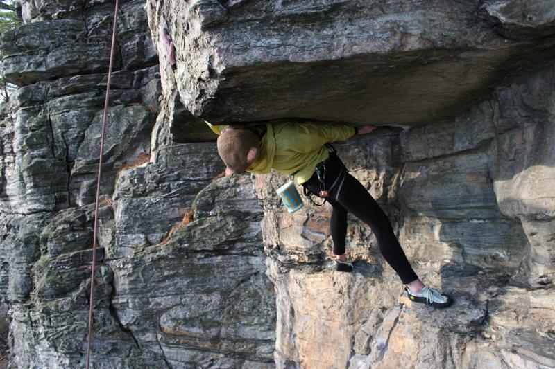 Rock Climbing Photo: Teddy reaching.