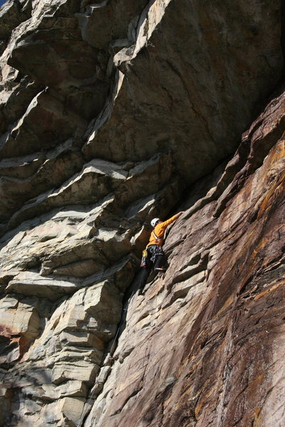 Rock Climbing Photo: Stepping right to the anchor can be spicy when wet...