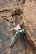 Rock Climbing Photo: Wedging into the feature after first bolt