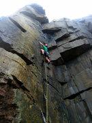 Rock Climbing Photo: Approaching the upper crux.