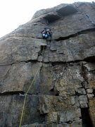 Rock Climbing Photo: Half way up the Flake.  A Dare By The Sea finishes...