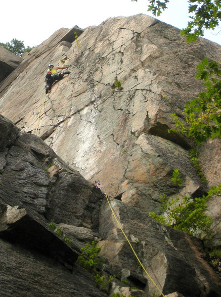Rock Climbing Photo: Cruising the steep but juggy first pitch face.