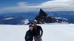 Rock Climbing Photo: my new wife and I in front of Little Tahoma pk