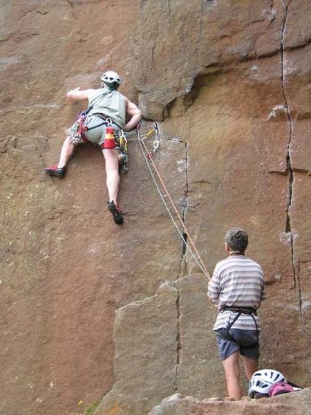 Rock Climbing Photo: Figuring out the mantle at the start of Great Port...