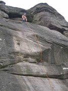 Rock Climbing Photo: No runners on the top section of 3PS (photo by Phi...