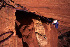 Rock Climbing Photo: Tomas following the wide bulge at the beginning of...