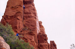 Rock Climbing Photo: The first pitch of T Rex- a clean dihedral with a ...